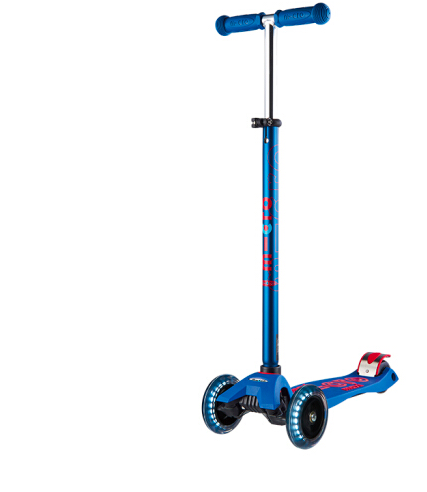 【LED车轮】瑞士m-cro迈古儿童滑板车maxi大童三轮滑板车 可调节高度轻便易携带闪光轮 蓝色