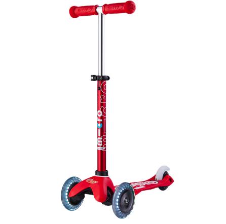 【LED车轮】瑞士m-cro迈古儿童滑板车德陆诗迷你滑行车可调节高度可拆卸儿童三轮闪光轮滑步车 红色LED白光车轮