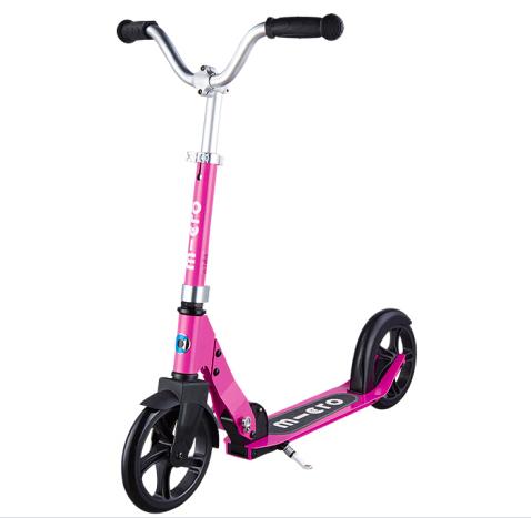 【上学代步】瑞士m-cro迈古巡乐号儿童二轮滑板车可调节高度可折叠 玫瑰红色